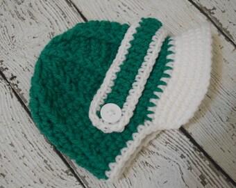 Green and white, Newborn baby hat ,Crochet newsboy hat , crochet baby boy hat, crochet girl hat, newborn baby hat, crochet baby hat