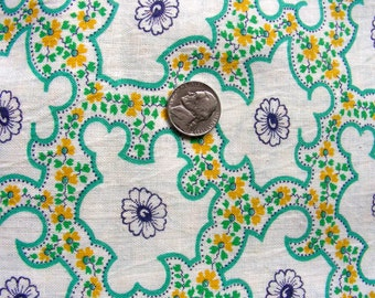Vintage Cotton Feed sack Quilting Fabric - PRETTY YELLOW & Green on White Background - 36 x 42