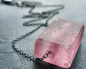 Bubblegum Pink Recycled Glass Oxidized Sterling Silver Necklace - Bazooka