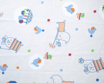 Fabric grey blue orange fun birds animals Cotton Fabric Kids Fabric Scandinavian Design Scandinavian Textile