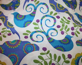 Pretty Bird  Pillow & Maxfield for Michael Miller Blue Purple Aqua Almost 2 yards