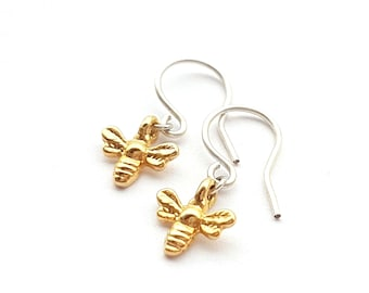 Honey Bee Earrings Dangle, Sterling Silver Bee Earrings Gold, Gift for Mom, Animal Lover Gift, Nature Lover Gift, Bee Jewelry Gift for Women