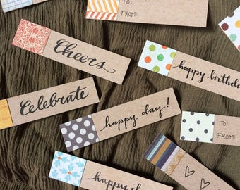 10 Gift Tags: All Ocassion Scrap Paper Tags. DOTS + STRIPES collection
