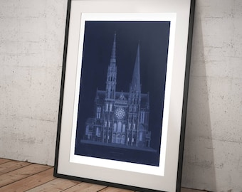 FRAMED Vintage Architecture Prints - Cathédrale de Chartres - Old Maps and Prints - Religious Architectural Drawing - French Gothic Decor