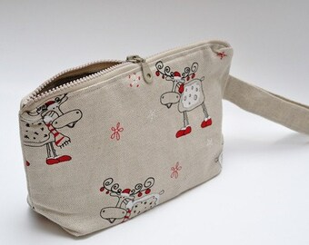 Wristlet pouch - Christmas elks - SALE - READY to SHIP