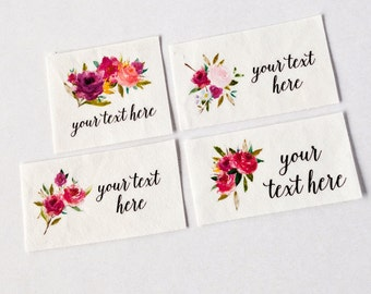 Watercolor Floral Logo Labels - Organic Cotton Personalized Tags with Calligraphy Script