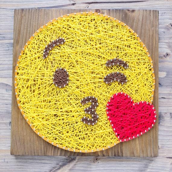 Modern Emoji String Art Wall Decor yellow kiss emoji