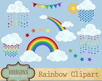 Rainbow Clipart, Vector Rainbow Clip Art, clouds, weather clipart, rain, sky clip art, rainbow vectors, instant download commercial use