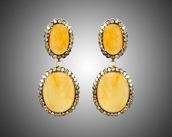 Silver Diamond Earring With Yellow Sapphire ESDE-191