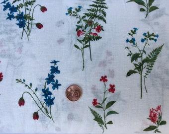Flowers- Green-Red-Blue-White-Hokkoh Japanese Sheeting  Cotton Linen fabric.