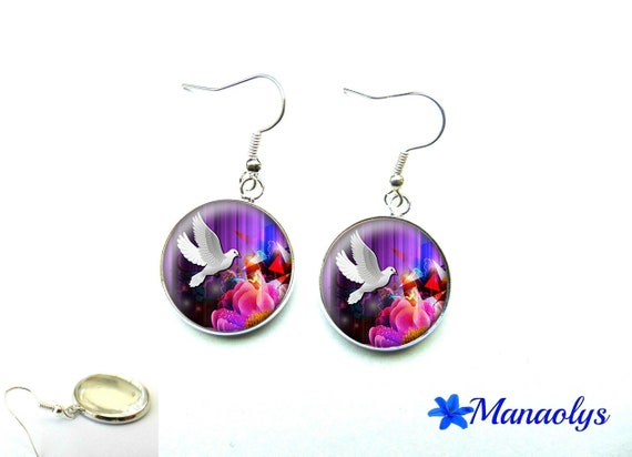 Doves and colorful patterns, 1360 glass cabochons earrings