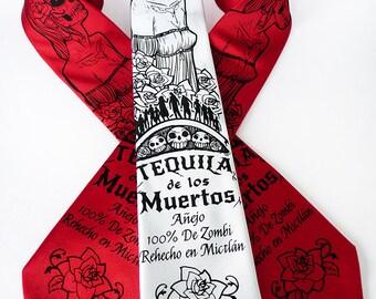 Tequila Men's Necktie, Dia de los Muertos, Skull Tie, Dia de los Muertos Costume, Day of the Dead Tie - Tequila de los Muertos Necktie