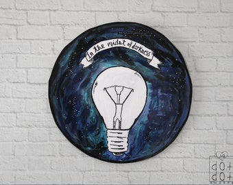 Boho lightbulb painting, boho painting,circle wall decor,black and white outline painting,Circle painting,circle wall decor,boho home decor