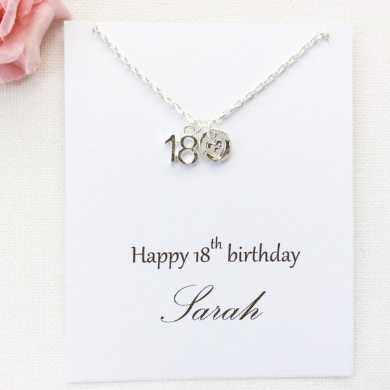 Personalized 18th Birthday Necklace Initial Custom: Personalized 18th Birthday Gift 18th Birthday Eighteenth