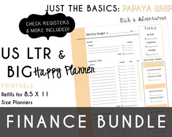USLTR/BIG Happy Planner Finance Bundle Check Register, Monthly Budget, Debt Payoff Tracker, Debtor Contacts Passwords PDF - Papaya Whip
