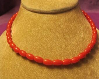 ORANGISH RED Oval Bead CHOKER