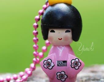 Pink kimono kokeshi pendant necklace