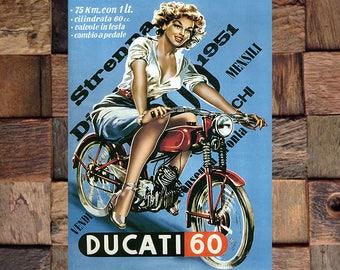 Ducati 60 Motorcycle Ad, Woman on Ducati, Vintage Motorcycle Art, Ducati, Vintage Ad, Vintage Art, Giclee Art Print, fine Art Reproduction