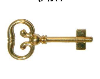 Blank Roll Top Desk Key - Solid Brass Key for Roll Top Desk Lock - Polished Brass Skeleton Antique Vintage
