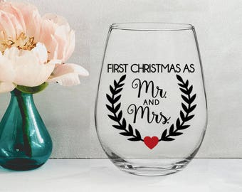 First Christmas as Mr & Mrs - 21 oz STEMLESS WINE GLASS - wife gift, christmas gift, newlywed gift