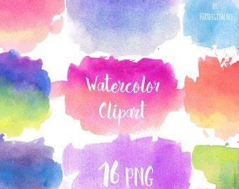 Watercolor Clip Art, Watercolor Splotches, PNG Watercolor Shapes, Textures, Instant Download, Splatters, Blobs, Watercolor Splotches
