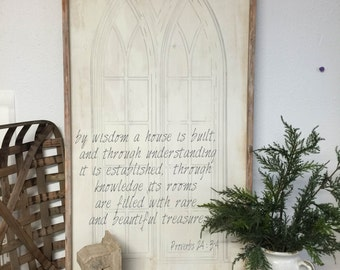 by wisdom a house is built, Proverbs 24:3-4, Wood sign