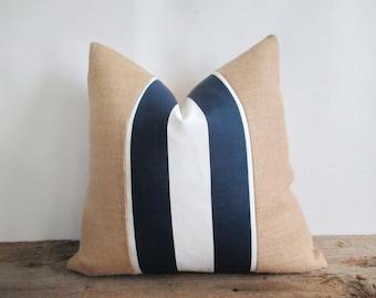 Pillow Cover Burlap Blue & White Stripe Nautical Beach House