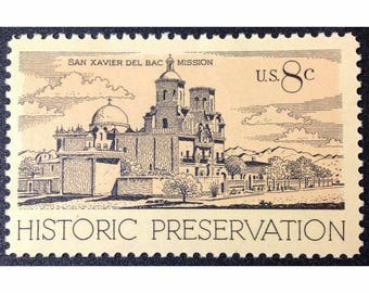 Ten (10) vintage unused postage stamps - Historic preservation, San Xavier Del Bac Mission // 8 cent stamps // Face value 0.80