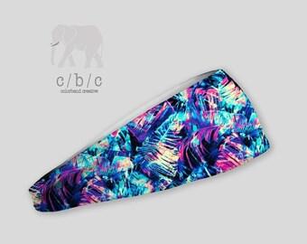 Blue Printed Headband, Thin or Wide Headband, Fitness Headband, Cross Fit Headband, Indie Headband, Extra Wide Band, Custom Headband
