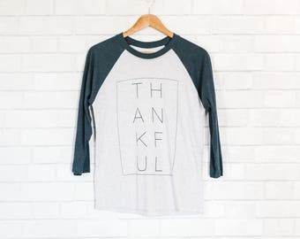 THANKFUL baseball tee, psalm 118:1, graphic tee, christian tee, ethical fashion, ethical t-shirt