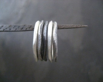 Stacking rings, wavy rings, mixed metal, 5 bands, textured rings, uneven rings, oxidized rings