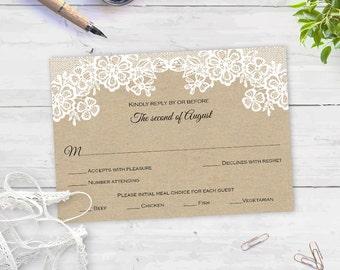 Wedding rsvp| template| download| printable|Editable color & text| Rustic wedding rsvp| FERSVP| T65