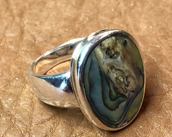 Vintage Abalone & Sterling Ring