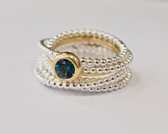 silver and gold ring, Endless wrapped ring, tourmaline
