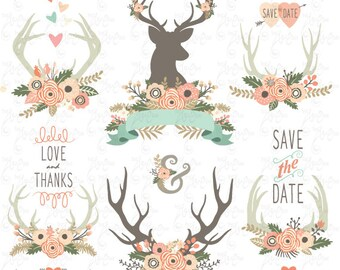 """Wedding clip art """"WEDDING FLORAL ANTLERS"""" Clipart,Floral Antlers,Vintage Flowers Wreath,Flower frames,Wedding Wreath,Wedding invitationWd093"""