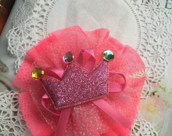 Princess  hair clip , flower hair clip, Wedding Accessory,Hair accessory, baby hair clip, princess tiara hair clip, hot pink baby hair clip