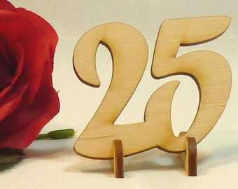 Wooden numbers 50 mm with foot standing anniversary wooden number numbers wood birthday silver wedding anniversary birthday number 25 35 40 45 50 55 60 70 75 100