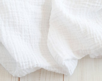 """Muslin Swaddle Blanket in solid white - made from 100% cotton double gauze - generously sized 45"""" square - baby blanket, baby gift"""
