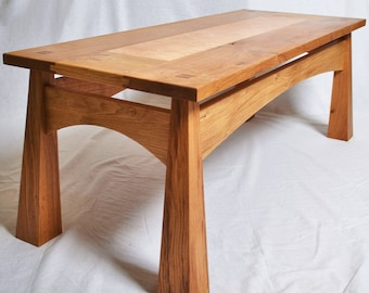 Oak and birdseye maple Japanese style coffee table