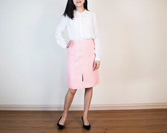 Ava A-line Skirt with Front-Slit in Sunglow Pink Jacquard