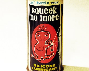 """RARE Vintage """"TURTLE WAX"""" Squeek No More -Advertising Can"""