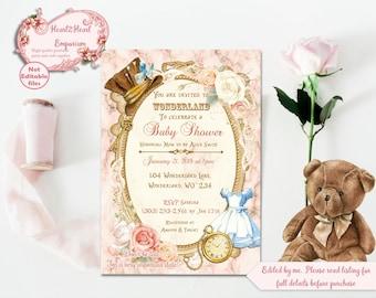 Alice in Wonderland Baby Shower Invitation - Printable Invite - Digital Download - Pink Floral Invite - Mad Hatter - Baby Shower