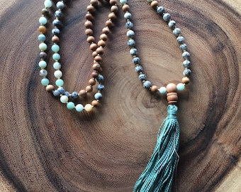 Spirit Soothing Mala Bead Necklace with Turquoise Tassel