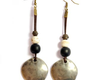 Antique Silver-colored Discs Handmade Earrings