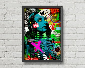 My lovely chaos 3,Original artwork,digital print,poster,collage,colorful,home decor,vintage,retro,ads,typography,skeleton