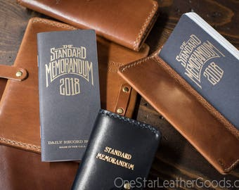 "Leather cover for ""The Standard Memorandum"" 2018 daily record book / calendar (includes book)"
