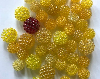 Vintage lucite berry beads yellow iridescent 14mm & 20mm lot
