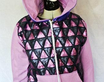 purple sequin geometric triangle pyramid hoodie lilac
