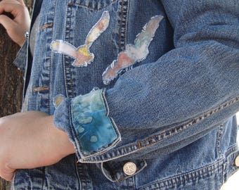 Altered Couture Upcycled ooak Plus Size Calvin Klein Denim Jacket XL Blue jean hand dyed birds raven eagle boho chic hippie gypsy prairie