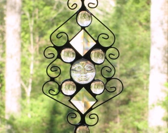 Stained Glass Suncatcher - Clear Iridescent Moonface with Clear Glass Nuggets, Clear Bevels, and Curly Cue Wire